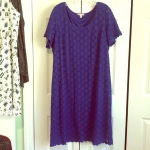 Dresses & Skirts - Plus sz 2X blue lacey business casual work dress